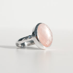 Sabine Ring Rose Quartz in sterling silver Hannah Daye & Co