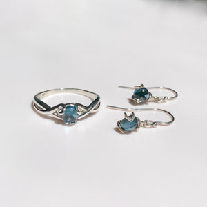 Fiore RIng and Earrings set Sterling Silver London Blue Topaz Hannah Daye & Co
