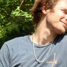 Load image into Gallery viewer, Figaro necklace on man wearing tee shirt Hannah Daye & Co