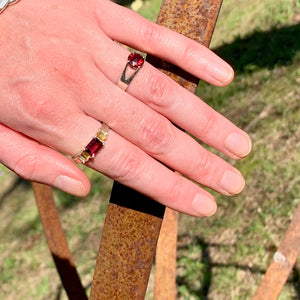 Garnet Briljante Ring with Lexi Band Ring  by Hannah Daye & Co