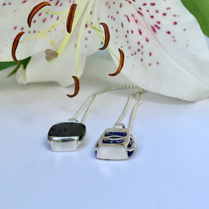 Milan Pendants Onyx and( Lapis reverse side up) Hannah Daye & Co