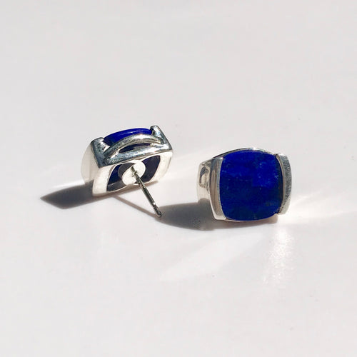 Milan post earrings in sterling silver and lapis by Hannah Daye & Co