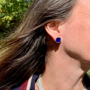 Milan earrings in lapis shown on by Hannah Daye & Co