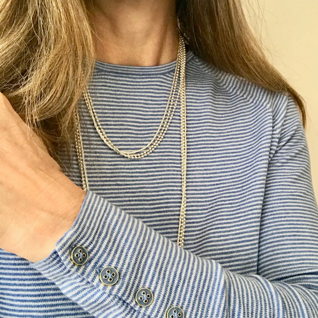 Sterling Wraps necklace doubled lengths Hannah Daye & Co with striped top
