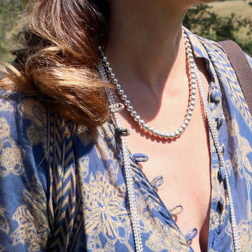 Silver Bead Necklace layered by Hannah Daye & Co