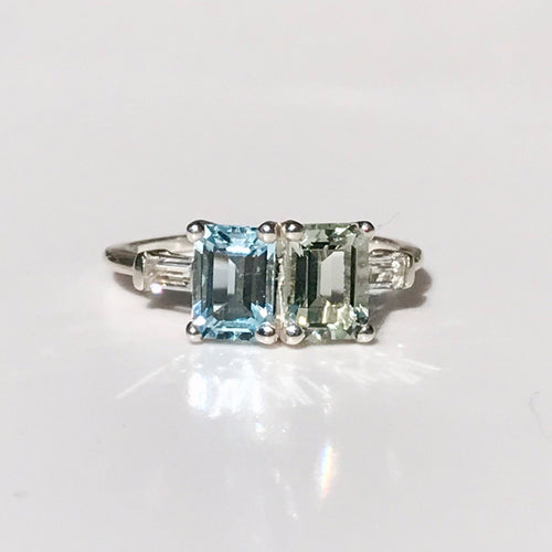Lexington Ring Sky Blue Topaz and Mint Quartz Sterling Silver Hannah Daye & Company