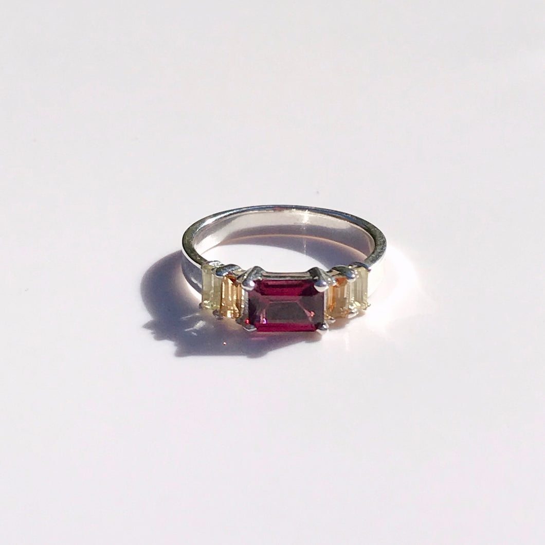 Lexi Band Ring Rhodolite Garnet with Citrine Baguettes Hannah Daye & Co