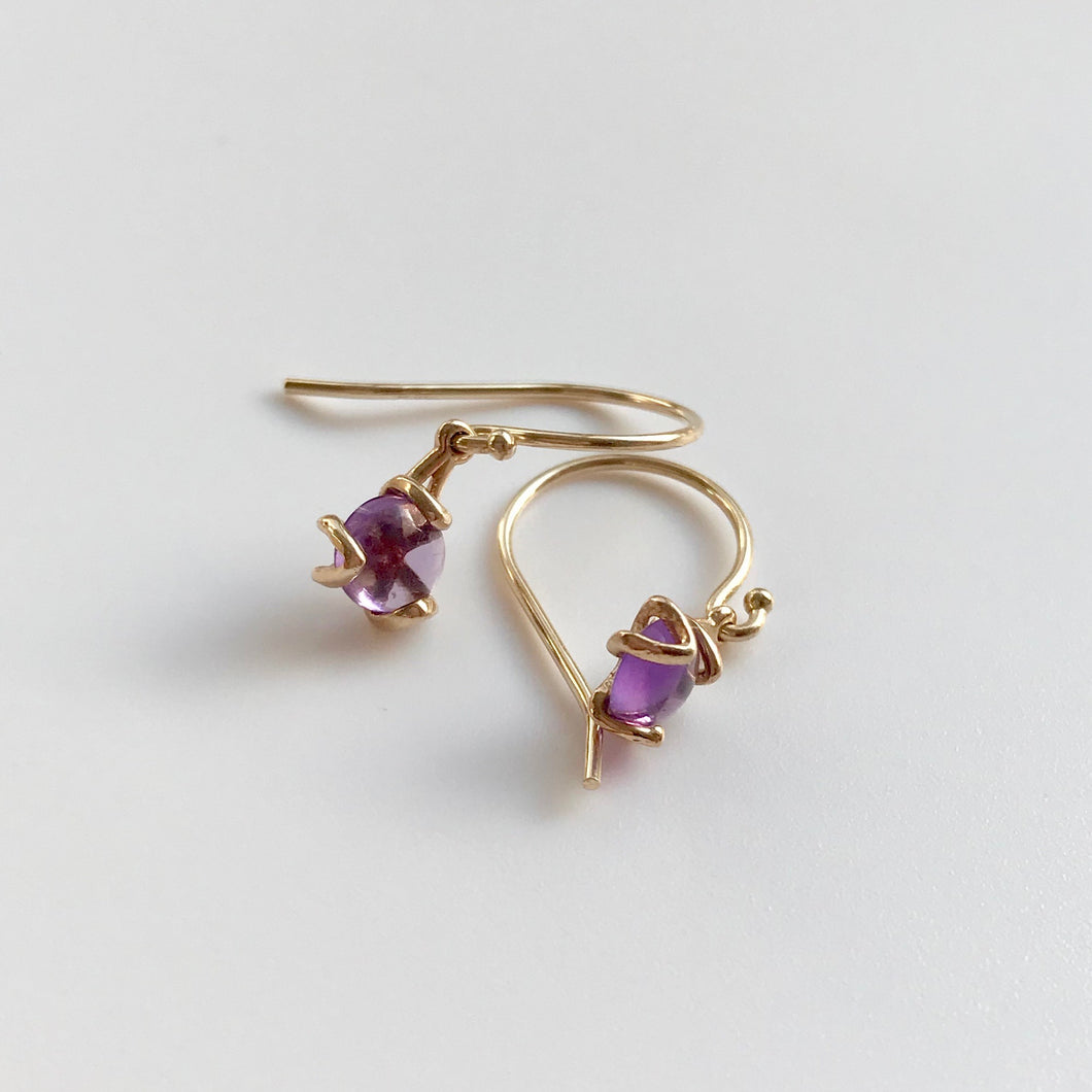 Fiore Gemstone Amethyst Drop Earrings 14k gold Hannah Daye & Company