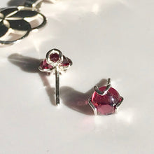 Load image into Gallery viewer, Fiore Post Earrings Garnet Rhodolite Sterling Silver Hannah Daye & Co