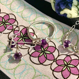 with H Daye Silk Scarf Set of Fiore Pieces Ring, Necklace, Drop Earrings all in Amethyst Hannah Daye & Co