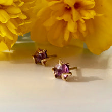 Load image into Gallery viewer, Fiore Amethyst gold earrings with marigold Hannah Daye & Co