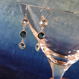 Cascade Earrings Blue and White Topaz with martini glass Hannah Daye & Co