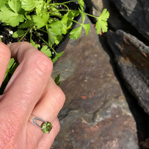 Brillante Ring in Peridot on hand with parsley Hannah Daye & Co