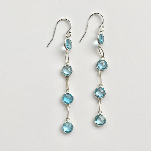 Cascade Earrings Swiss Blue Topaz Four Stone Hannah Daye & Co