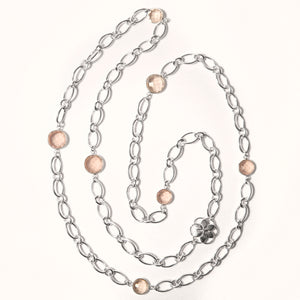 Cascade Infinity Necklace Rose and Milky Quartz Sterling Hannah Daye & Co