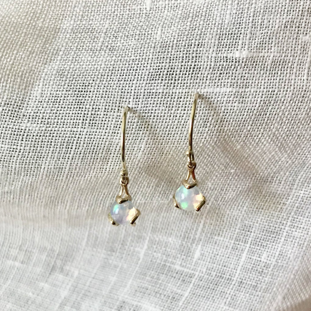Fiore Gemstone Opal Earrings drop 14k gold Hannah Daye & Company