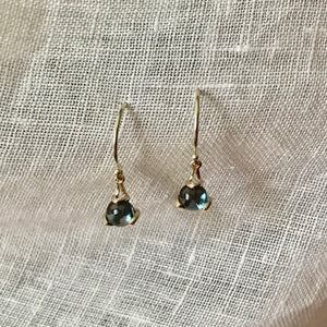 Fiore Gemstone London Blue Topaz Earrings drop 14k gold Hannah Daye & Company