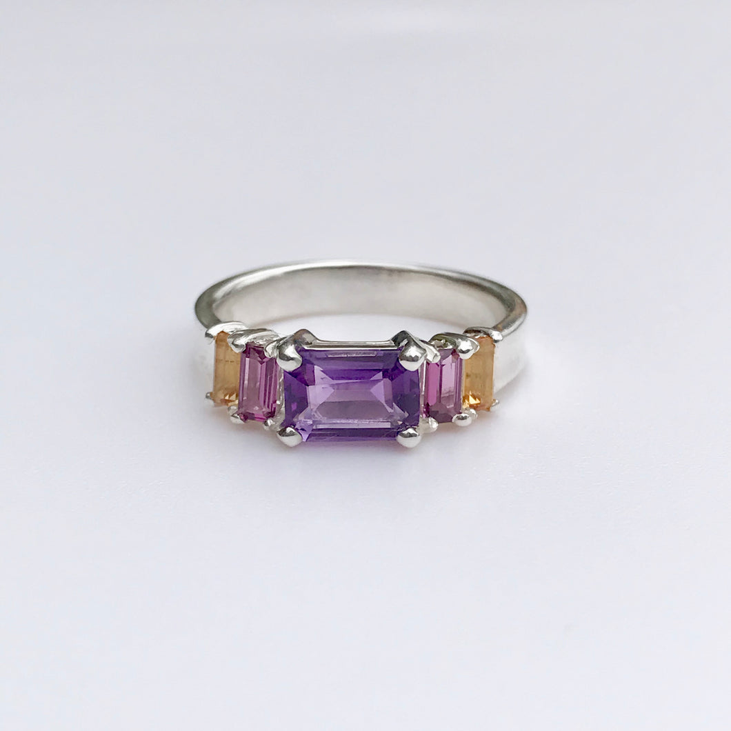 Lexi Band Ring Amethyst with Garnet and Citrine Baguettes Hannah Daye & Co