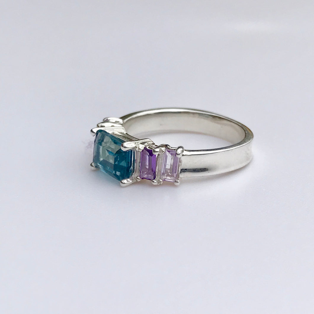 Lexi Band Ring London Topaz Sky and Amethyst Baguettes Hannah Daye & Co