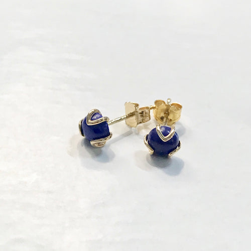 Fiore Gold 14k lapis stud earrings Hannah Daye & Company