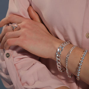 Bordillow Figaro and Bead silver bracelets with Sabine Ring North South Rose Quartz Hannah Daye & Company