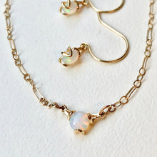 Load image into Gallery viewer, Fiore 14k gold necklace shown with drop earrings in Opal by Hannah Daye & Co
