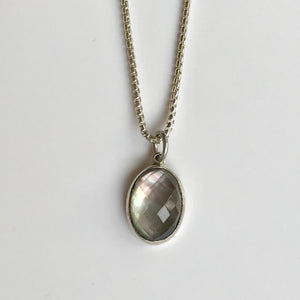 Sabine Pendant Black Mother of Pearl doublet Hannah Daye & Company