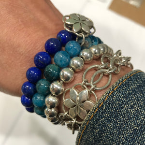 Rosette Charm Lapis Apatite Bracelets with Rosette and Bead Bracelets stacked Hannah Daye & Company