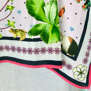 Rosette Silk Scarf  Lilac corner view Hannah Daye and Co