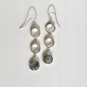 Cascade Multi-Gemstone Earrings Rose Quartz, Milky Quartz, Labradorite Hannah Daye & Co