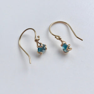 Fiore 14k gold drop earrings london blue topaz Hannah Daye & Co