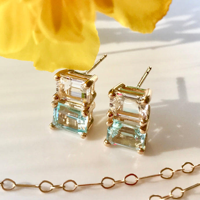 Lexington 14k gold Earrings Sky Blue and White Topaz with 14k chain in photo Hannah Daye & Company