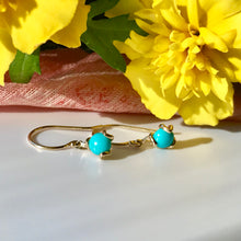 Load image into Gallery viewer, Fiore gemstone 14k gold drop earring Turquoise Kingman Hannah Daye & Co
