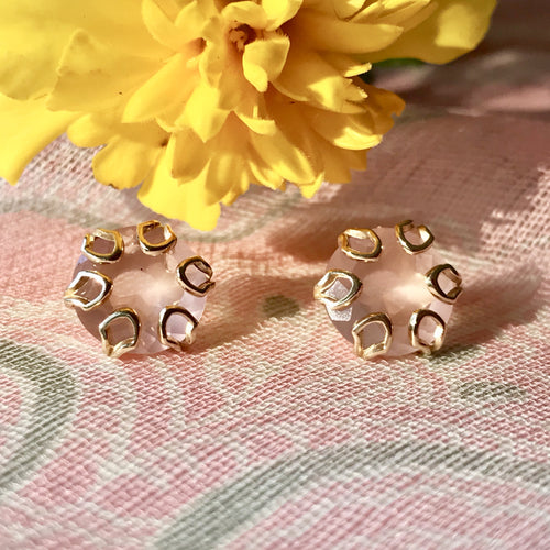 Poppy 14k gold earrings rose quartz Hannah Daye & Co