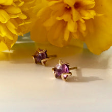 Load image into Gallery viewer, Fiore Gold 14k studs amethyst with marigold Hannah Daye & Co