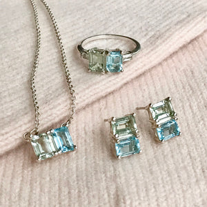 Lexington Earrings Ring and Necklace in Sky Blue Topaz and Mint Quartz Hannah Daye & Co