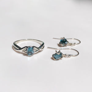 Fiore Drops with Ring all in London Blue Topaz and Sterling Silver by Hannah Daye & Co