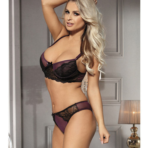 Naughty Purple Boudoir Bra Set