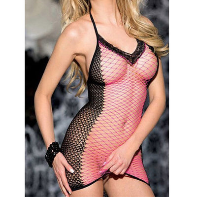 Pink Fishnet Mini Dress Body Stocking