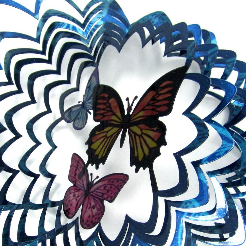 Three Butterflies: Stainless-Steel Wind Spinner