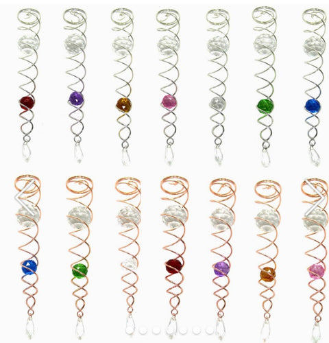 Crystal Twister Wind Anchor w/ Clear and Colored Glass Crystals