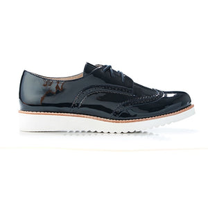Walnut Melbourne Mist Patent Leather Brogues Navy