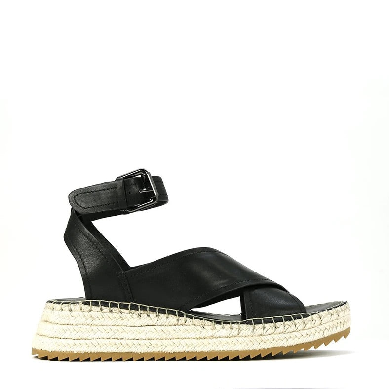 EOS Larax Leather Espadrilles Black