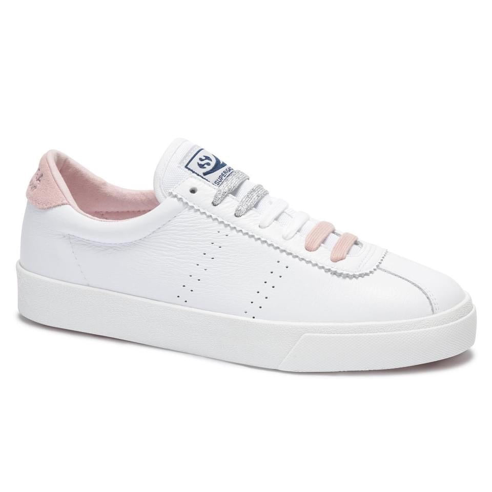 Superga 2843 Comfleau Leather White/Pale Pink