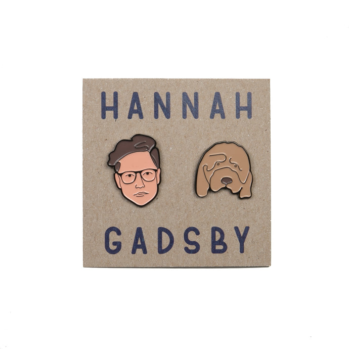 Hannah Gadsby and Douglas Face enamel pins