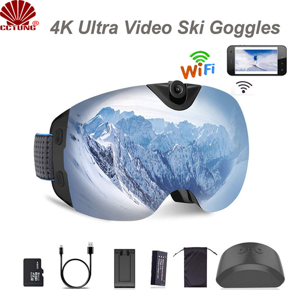 WIFI version, 4K version White version Ski-Sunglass Goggles