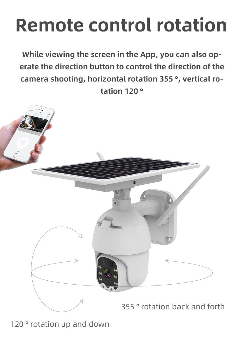 WIFI Alarm Intelligent Solar PTZ Dome Camera with Mobile APP 1080P HD Live Video Moitoring Cloud & Local Storage IP65 Waterproof