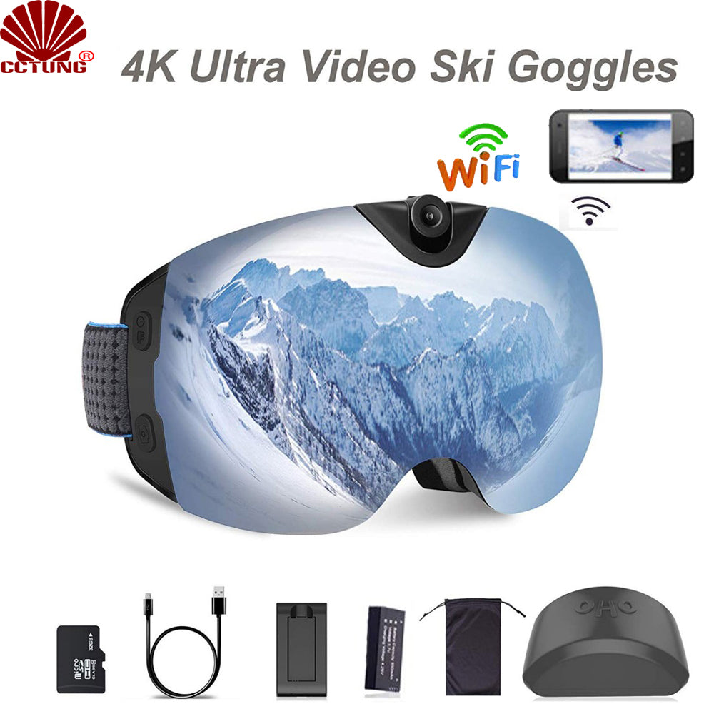 4K Ultra Video Ski-Sunglass Goggles WIFI Camera with Super 1080P 60fps Video Recording Anti-Fog Snowboard UV400 Protection Lens