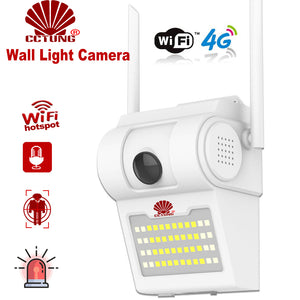1080P Outdoor 4G/WiFi Wall Light Lamp IP Camera with 48pcs IR LED Light A/V Courtyard Monitoring