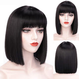 12 Inch Short Bob Wig With Bangs for Women Synthetic Bob Wigs Black Pink Purple Wig for Party Daily Use Shoulder Length